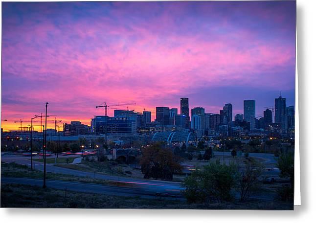 Denver Sunrise At Speer Greeting Card by Daniel Lowe