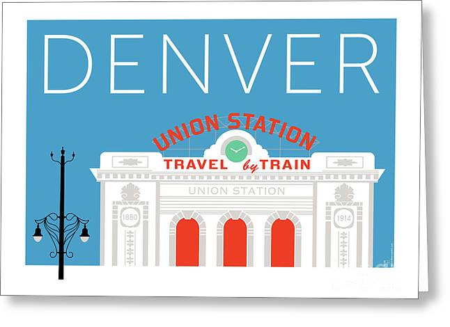 Greeting Card featuring the digital art Denver Union Station/blue by Sam Brennan
