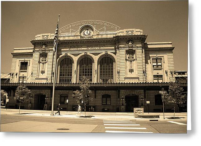 Greeting Card featuring the photograph Denver - Union Station Sepia 5 by Frank Romeo