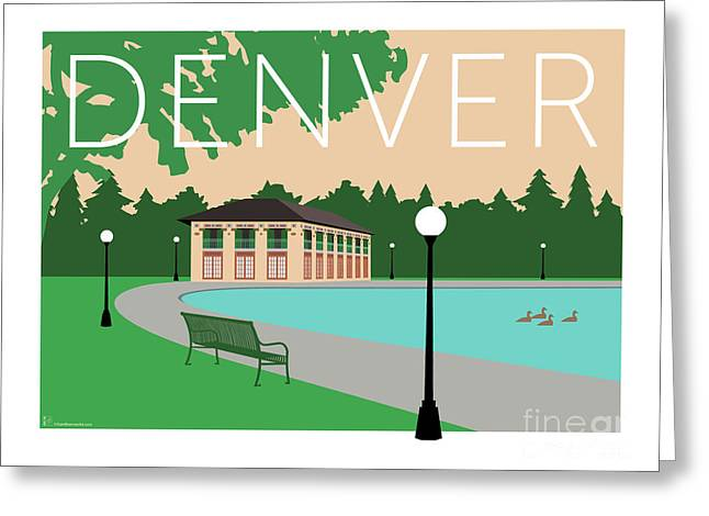 Greeting Card featuring the digital art Denver Washington Park/beige by Sam Brennan
