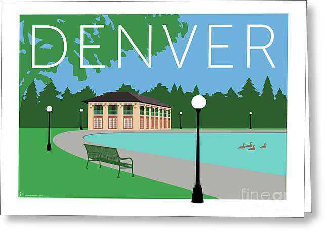 Greeting Card featuring the digital art Denver Washington Park/blue by Sam Brennan