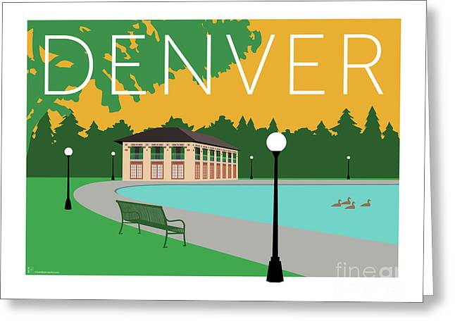 Greeting Card featuring the digital art Denver Washington Park/gold by Sam Brennan