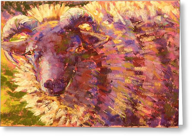 Denzel Ram Greeting Card by Mary McInnis