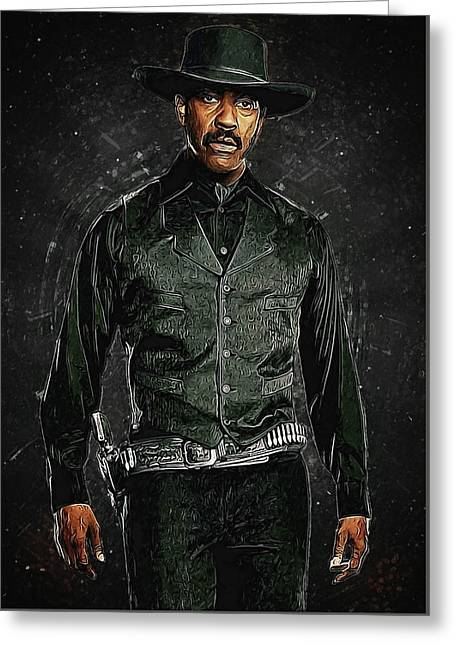 Denzel Washington Greeting Card by Semih Yurdabak