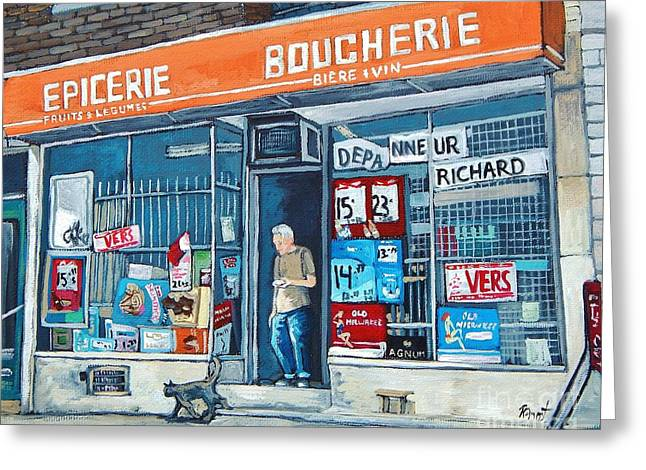 Depanneur Richard Greeting Card by Reb Frost