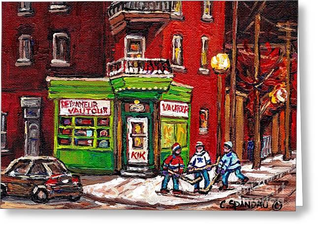Depanneur Vautour Winter Night Hockey Game Near Glowing Street Lights St Henri Painting Montreal Art Greeting Card by Carole Spandau