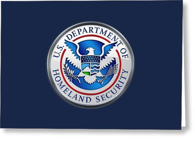 Department Of Homeland Security - D H S Emblem On Blue Velvet Greeting Card