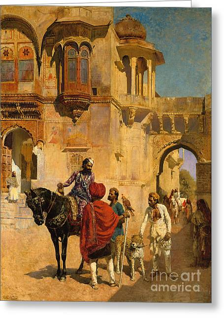 Departure For The Hunt In The Forecourt Of A Palace Of Jodhpore Greeting Card by Edwin Lord Weeks
