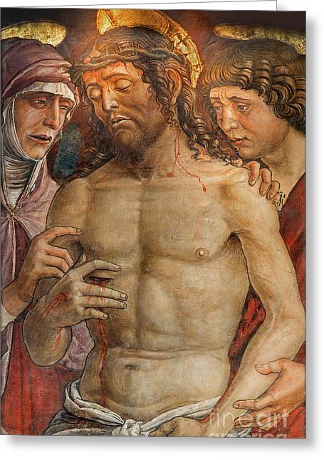 Deposition Of The Cross Fresco By Mantegna School Greeting Card