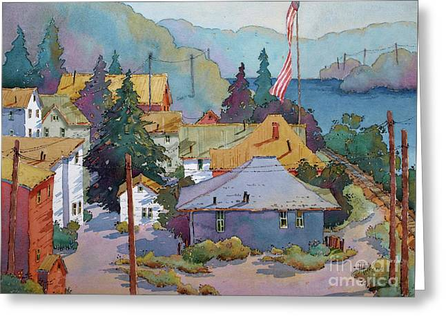 Depot By The River Greeting Card