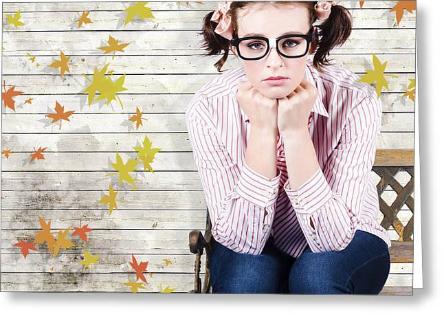 Depressed Businesswoman In A Networking Crisis Greeting Card by Jorgo Photography - Wall Art Gallery