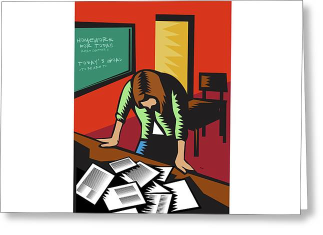 Depressed Female School Teacher Classroom Woodcut Greeting Card