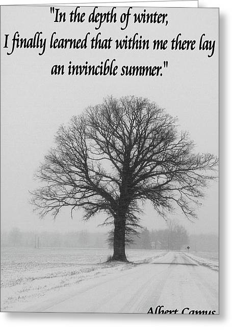 Depth Of Winter Quote Greeting Card by Dan Sproul
