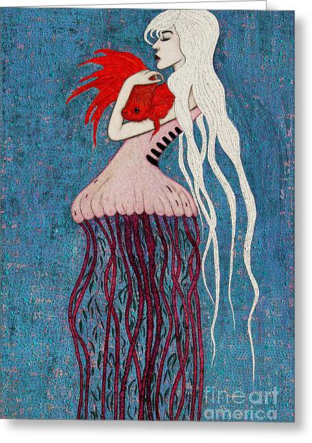 Greeting Card featuring the mixed media Depths Of Love by Natalie Briney