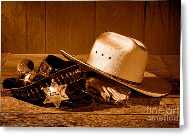 Deputy Sheriff Gear - Sepia Greeting Card by Olivier Le Queinec