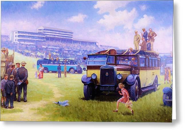 Derby Day Epsom 1929. Greeting Card
