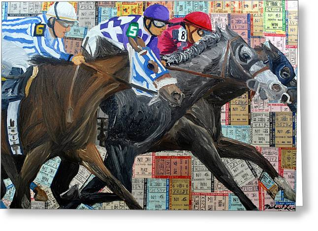 Race Horse Mixed Media Greeting Cards - Derby Tickets III Greeting Card by Michael Lee