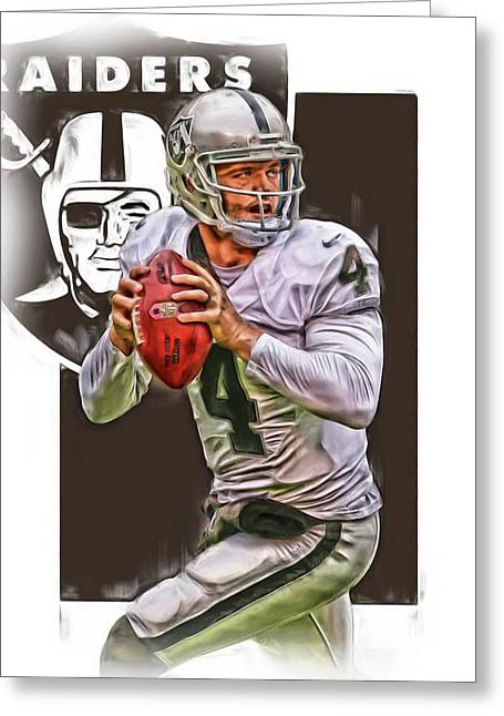 Derek Carr Oakland Raiders Oil Art Greeting Card by Joe Hamilton