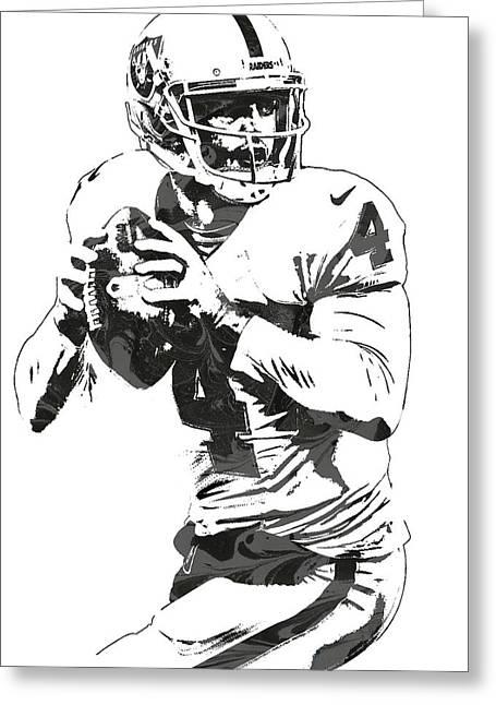 Derek Carr Oakland Raiders Pixel Art Greeting Card
