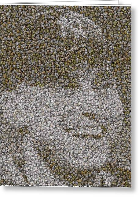 Derek Jeter Baseballs Mosaic Greeting Card by Paul Van Scott