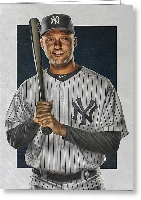 Derek Jeter New York Yankees Art Greeting Card by Joe Hamilton
