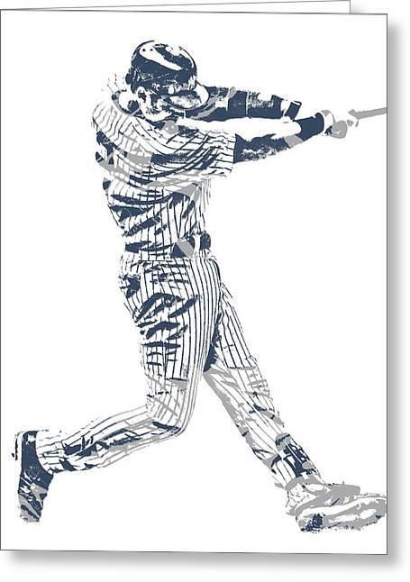 Derek Jeter New York Yankees Pixel Art 10 Greeting Card