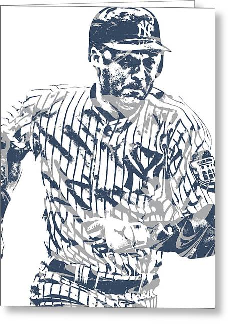 Derek Jeter New York Yankees Pixel Art 12 Greeting Card