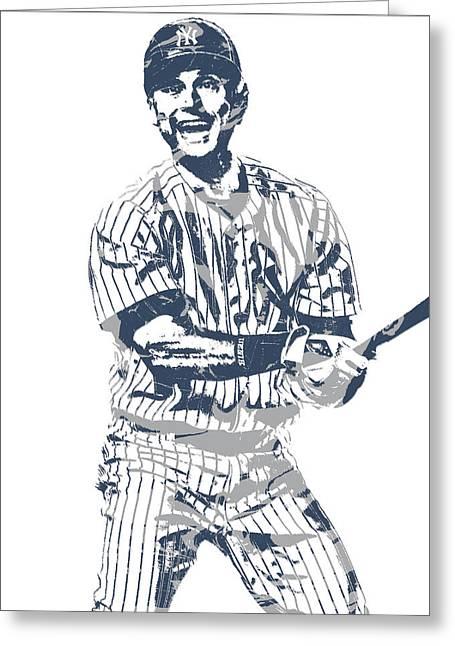 Derek Jeter New York Yankees Pixel Art 13 Greeting Card