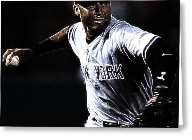 Derek Jeter Greeting Card by Paul Ward