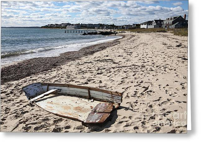 Derelict  Boat, Falmouth Beach Greeting Card by Bryan Attewell