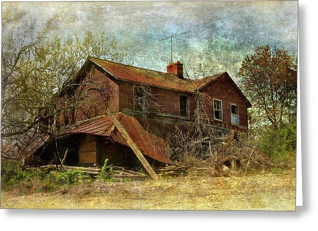 Engulfing Greeting Cards - Derelict House Side Greeting Card by Susan Isakson