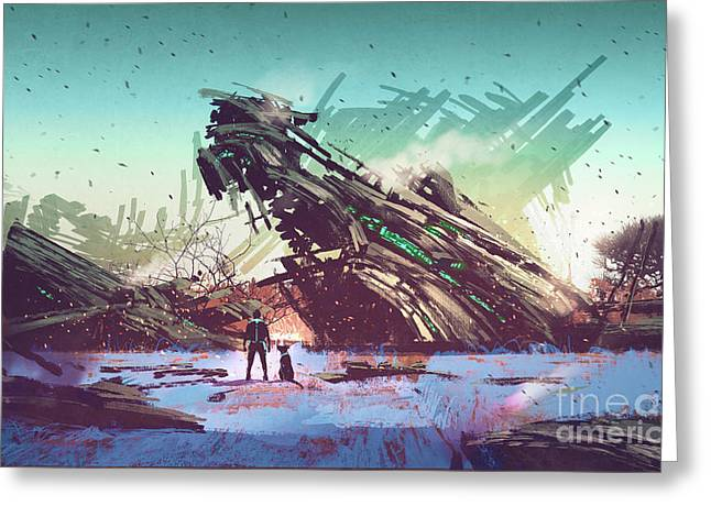 Greeting Card featuring the painting Derelict Ship by Tithi Luadthong