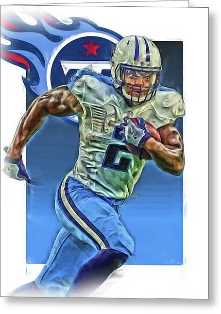 Derrick Henry Tennessee Titans Jersey Number 2 Oil Art Greeting Card by Joe Hamilton