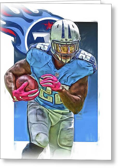 Derrick Henry Tennessee Titans Jersey Number 22 Oil Art Greeting Card by Joe Hamilton
