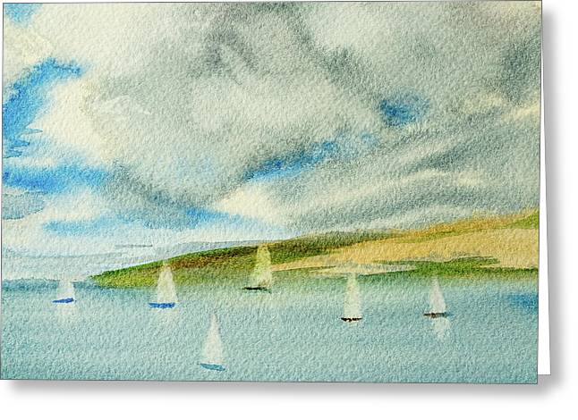 Dark Clouds Threaten Derwent River Sailing Fleet Greeting Card