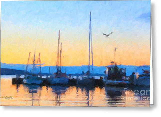 Greeting Card featuring the painting Derwent River Sunset by Chris Armytage