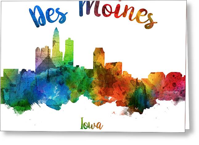 Des Moines Iowa 25 Greeting Card by Aged Pixel