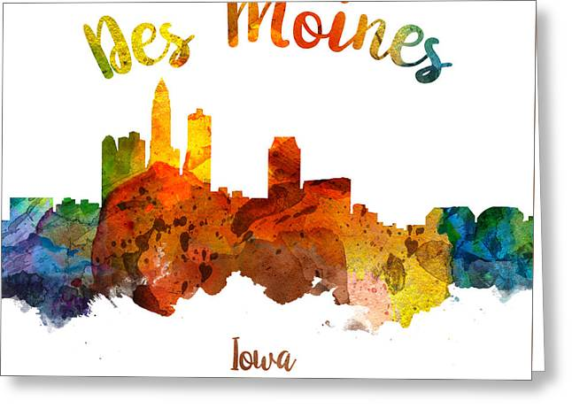 Des Moines Iowa 26 Greeting Card by Aged Pixel