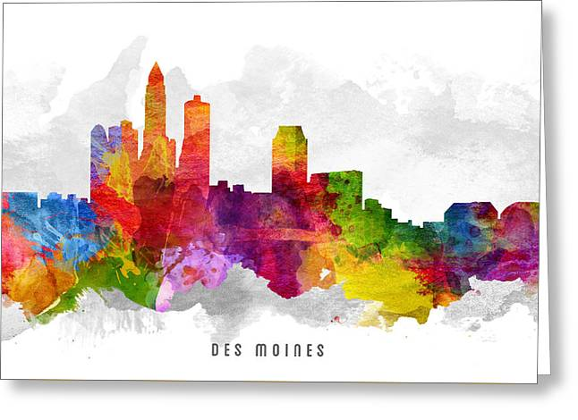 Des Moines Iowa Cityscape 13 Greeting Card by Aged Pixel