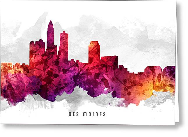 Des Moines Iowa Cityscape 14 Greeting Card by Aged Pixel