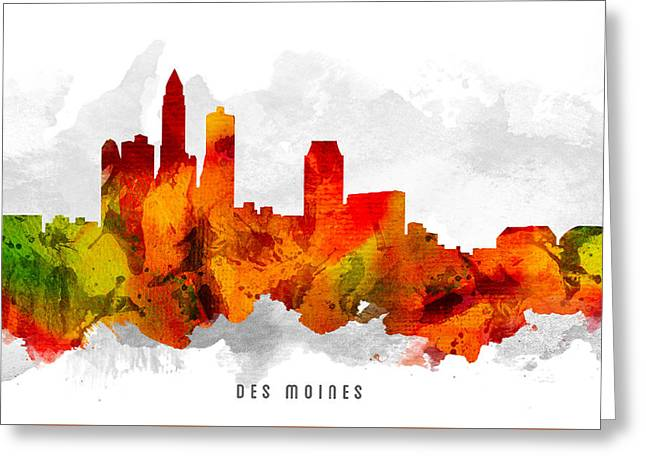 Des Moines Iowa Cityscape 15 Greeting Card by Aged Pixel
