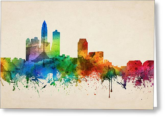 Des Moines Iowa Skyline 05 Greeting Card by Aged Pixel