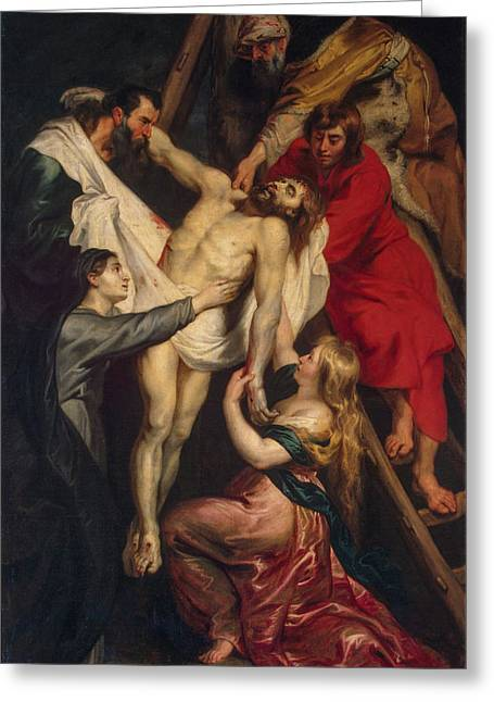 Descent From The Cross Greeting Card by Peter Paul Rubens