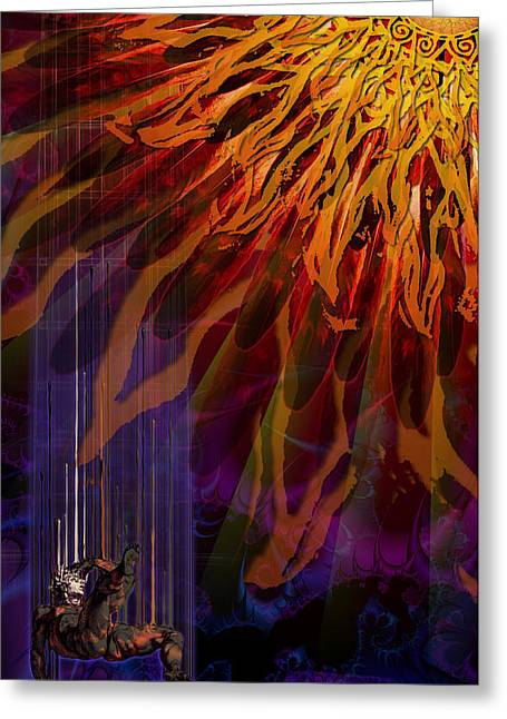 Greeting Card featuring the digital art Descent Of Icarus by Kenneth Armand Johnson