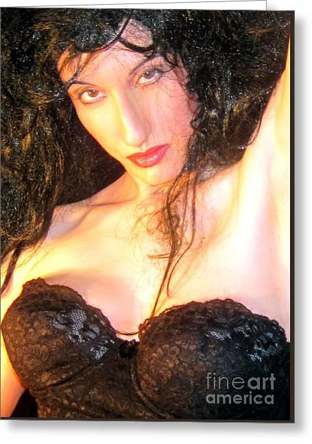 Desdemona Greeting Cards - Desdemona - Fierce - Self Portrait Greeting Card by Jaeda DeWalt