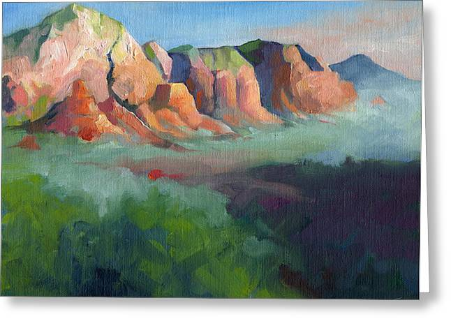 Desert Afternoon Mountains Sky And Trees Greeting Card by Catherine Twomey