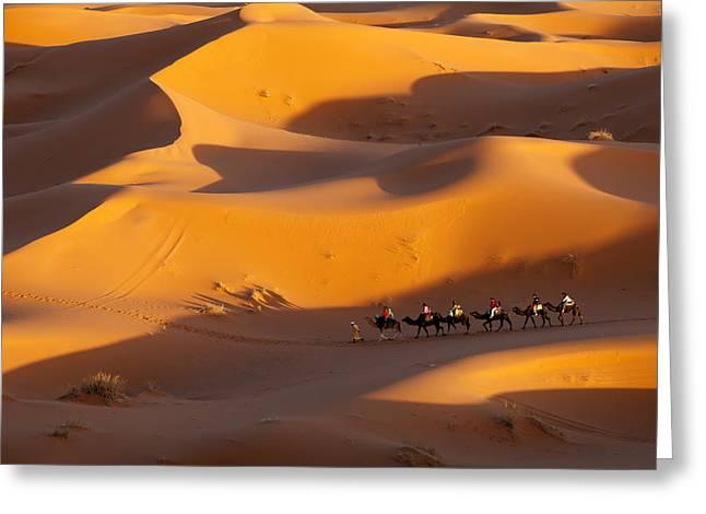 Desert And Caravan Greeting Card