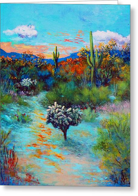 Greeting Card featuring the painting Desert At Dusk by M Diane Bonaparte