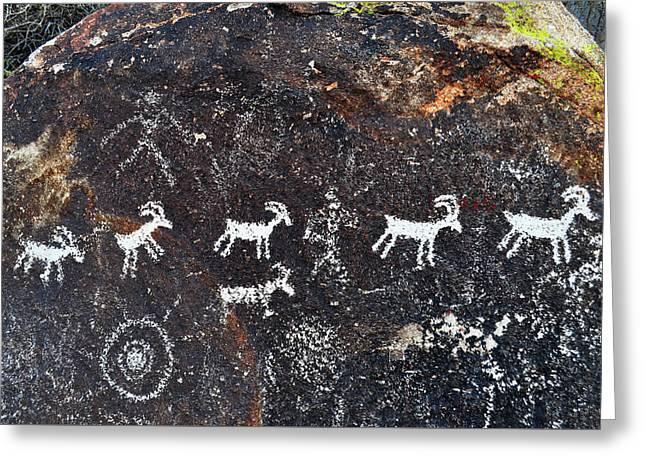 Desert Bighorn Sheep Petroglyphs Lake Mead Greeting Card by Kyle Hanson