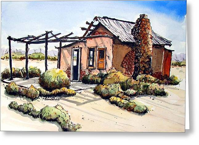 Greeting Card featuring the painting Desert Cabin by Terry Banderas